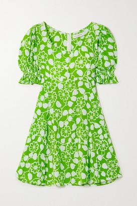 Faithfull The Brand Net Sustain La Barben Floral-print Crepe Mini Dress - Green