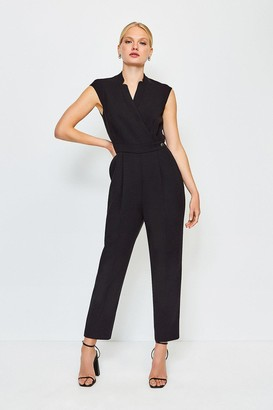 Karen Millen Wrap Collar Sleeveless Jumpsuit