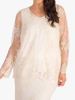 Chesca Embroidered Mesh Jacket, Cream