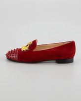 Christian Louboutin Intern Spiked Velvet Red Sole Loafer, Red
