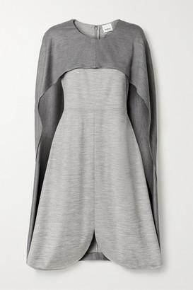Burberry Layered Melange Wool-blend Jersey Midi Dress - Gray