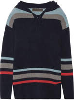 The Elder Statesman Heavy Hockey Hooded Striped Cashmere Sweater - Navy