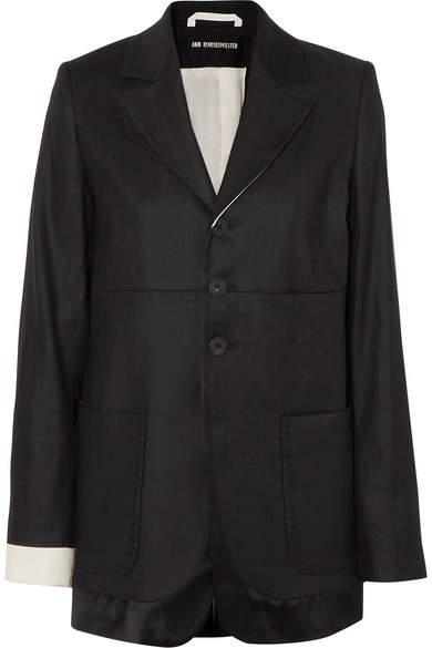 Ann Demeulemeester Satin-trimmed Linen And Cotton-blend Twill Blazer - Black
