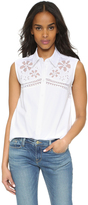 Equipment Reese Sleeveless Floral Embroidered Shirt