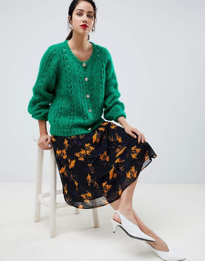 Gestuz loose knit cardigan with gold button