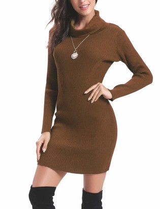 Aibrou Women Gray Turtleneck Sweater Dress Long Sleeve Bodycon Cable Ribbed Knitted Dress Sweater Casual Dresses Pullover