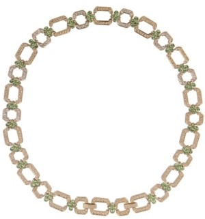 Grace Kelly Collection 18k Gold Plated Peridot Hex Necklace