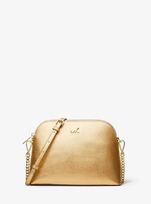MICHAEL Michael Kors Large Metallic Crossgrain Leather Dome Crossbody Bag