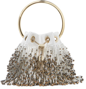 Jimmy Choo BON BON Latte and steel Fringed Bead-Embroidered Satin Bag with Metal Handle