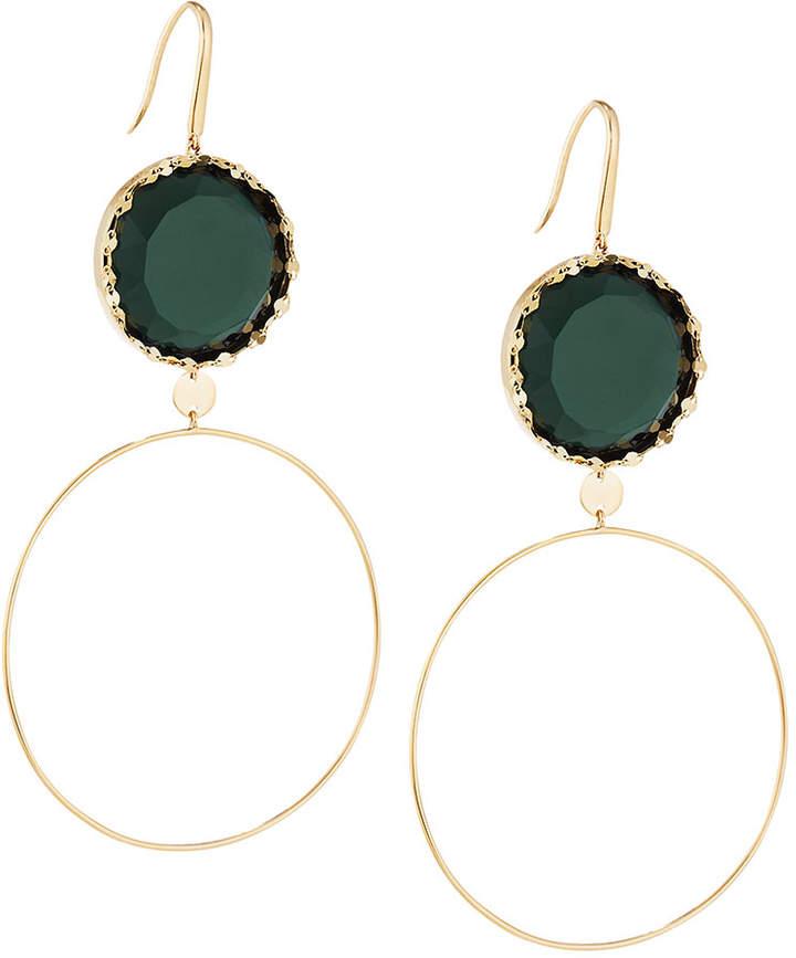 Lana 14k Midnight Dangle Hoop Earrings, Green