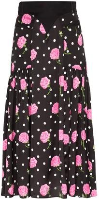 Paco Rabanne Floral polka dot flared skirt
