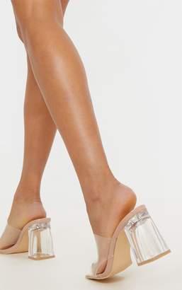 PrettyLittleThing Nude Clear Block Heel Mule