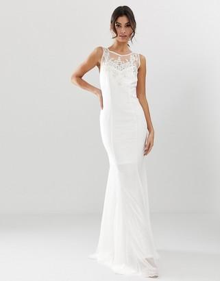 City Goddess bridal fishtail maxi dress with embellished detail-White