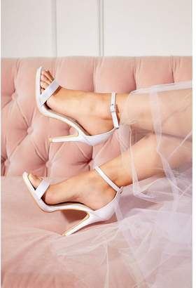 Quiz Bridal Ivory Satin Diamante Buckle Heeled Sandals