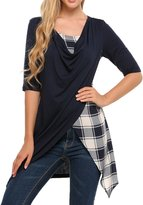 Meaneor Women Short Sleeve Button Decor Slim Casual Tunics T-shirt Blouse