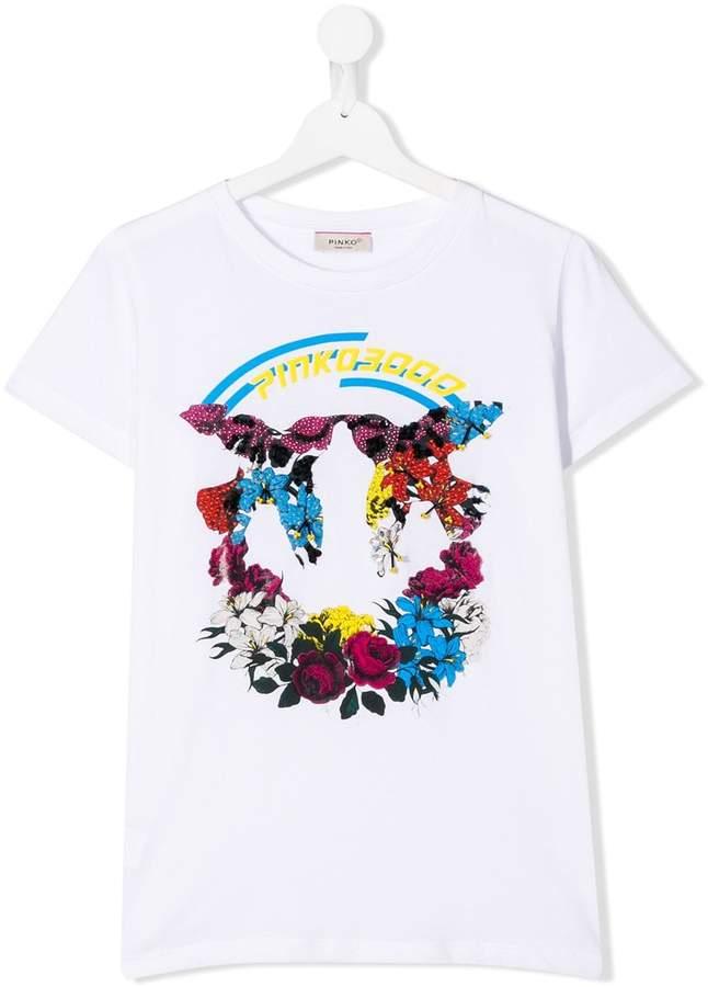 Pinko Kids logo floral print T-shirt
