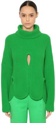 Antonio Berardi WOOL TURTLENECK SWEATER W/ CUTOUTS