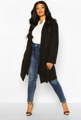 boohoo Plus Heavy Wool Look Wrap Duster Coat