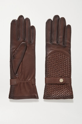Agnelle Woven Leather Gloves - Chocolate