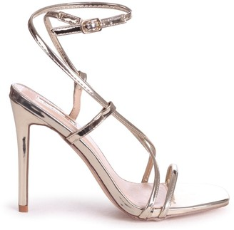 Linzi EFFIE - Gold Chrome Strappy Stiletto Heel