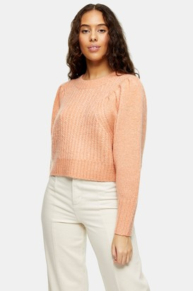 Topshop Womens Petite Pink Pleated Sleeve Knitted Jumper - Pink