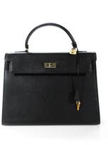Reina Black Leather 3 Pocket Turn Lock Shoulder Handbag With Dust Bag