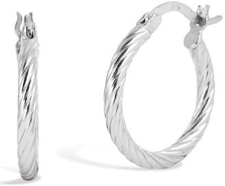Savvy Cie Sterling Silver Twist Tube Hoop Earrings