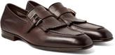 Santoni - Burnished-leather Kiltie Loafers