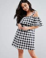 Influence Frill Cold Shoulder Gingham Dress