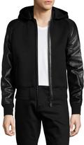 Givenchy Men's Leather Sleeve Hooded Bomber Jacket