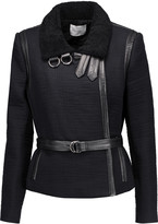 IRO Cloud shearling and leather-trimmed cotton jacket