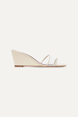 STAUD Billie Croc-effect Leather And Pvc Wedge Sandals - White