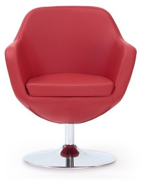 """Wade Logan Wharton 27"""" W Faux Leather Swivel Armchair Fabric: Red Faux Leather"""