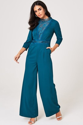 Little Mistress Anja Kingfisher Lace-Trim Jumpsuit