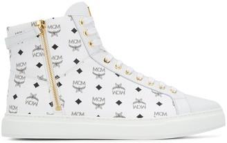 MCM Logo Printed Hi-Top Sneakers