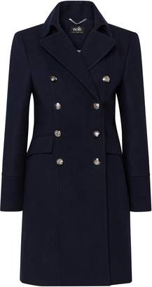 Wallis Navy Double Breasted Military Coat