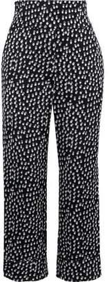 Sonia Rykiel Cropped Polka-dot Jacquard Straight-leg Pants