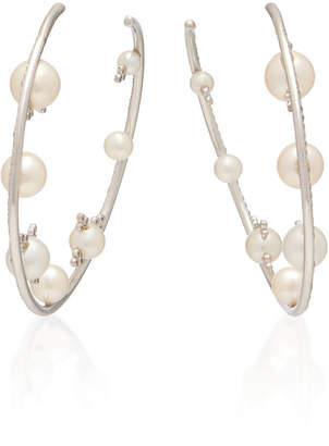 Lauren X Khoo 18K White Gold, Diamond and Pearl Hoop Earrings