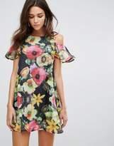 AX Paris Cold Shoulder Floral Chiffon Swing Dress