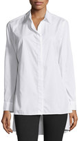 Neiman Marcus Oversized High-Low Cotton Blouse, White