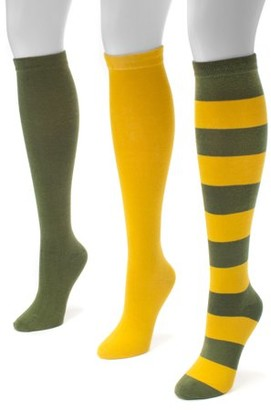 Muk Luks Game Day 3 Pair Pack Knee High Socks