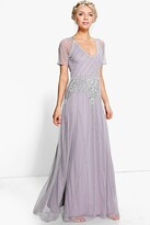 boohoo Boutique Mai Beaded Cap Sleeve Maxi Dress grey