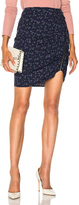 Veronica Beard Spencer Zipper Skirt in Blue,Floral.