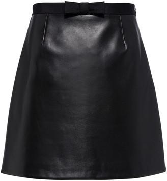 Miu Miu Bow-Accented Nappa Leather Mini Skirt