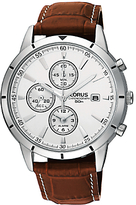 Lorus Rf325bx9 Chronograph Date Leather Strap Watch, Brown/white