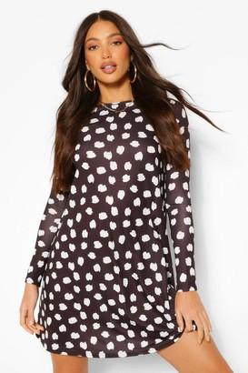 boohoo Tall Polka Dot Print Smock Skater Dress