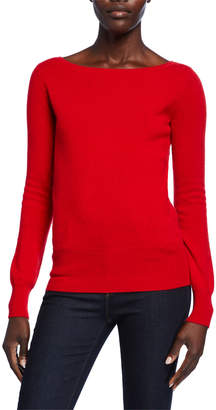 Neiman Marcus Bateau-Neck Long-Sleeve Classic Cashmere Sweater