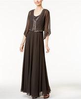 J Kara Beaded Gown and Angel-Sleeve Jacket
