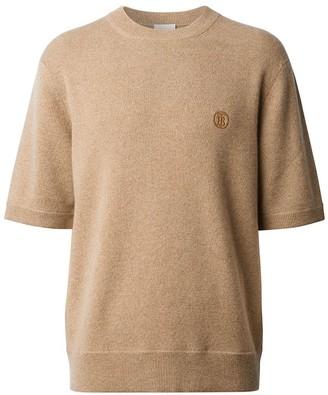 Burberry Short-Sleeve Embroidered Motif Jumper