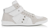 Jimmy Choo Lewis White Sport Leather and Suede High Top Men's Sneakers